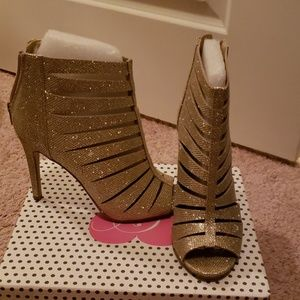 Sparkling gold booties